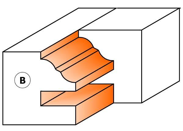 Sin necesidad de suplementar anillos de separación,simplemente subiendo o bajando el eje de la máquina se obtiene la moldura o contramoldura.
