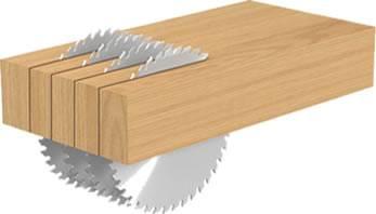 Sierra circular que endereza el canto de la madera,corte a favor de la veta