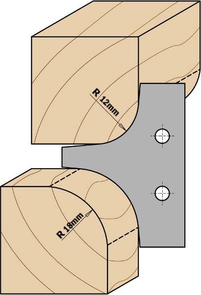 El cabezal portacuchillas estándar se suministra con cuchillas de radio 15mm y 20mm También disponibles dos juegos de cuchillas de radios 12mm y 18mm. A utilizar en máquinas tupí, combinadas y cepilladoras.