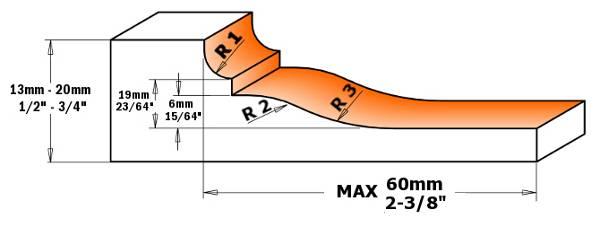 Tiene 2 cortes para el bisel dotados con 2 cuchillas rectas y 2 cortes para el perfil que admite cualquier perfil acorde con las dimensiones de la cuchilla perfilable