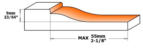 Se suministra equipado con un perfil. La inclinación del bisel es de 3º y la longitud máxima de plafón que se puede trabajar de 61 mm