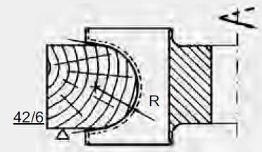 herramienta para molduras con perfil concavo y radios abiertos