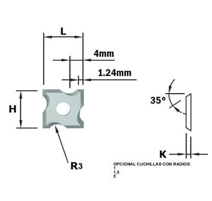 Cuchillas de md integral reversibles de cuatro cortes