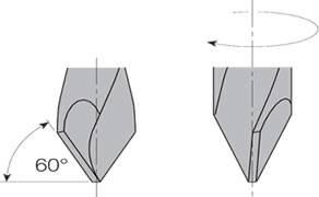 Broca para agujeros pasante con afilado especial a 60º