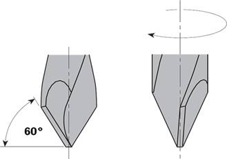 Broca para realizar agujeros pasantes en maderas de 25 mm de espesor