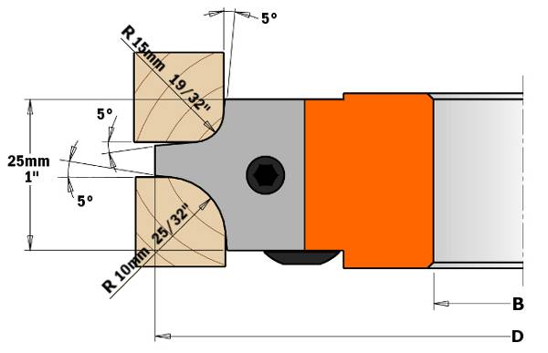 """Cabezal portacuchillas que monta tres cuchillas distintas, permitiendo realizar seis perfiles de radio cóncavo. El cabezal portacuchillas estándar se suministra con cuchillas de radio 5mm (13/64"""") y 10mm (25/64"""")."""