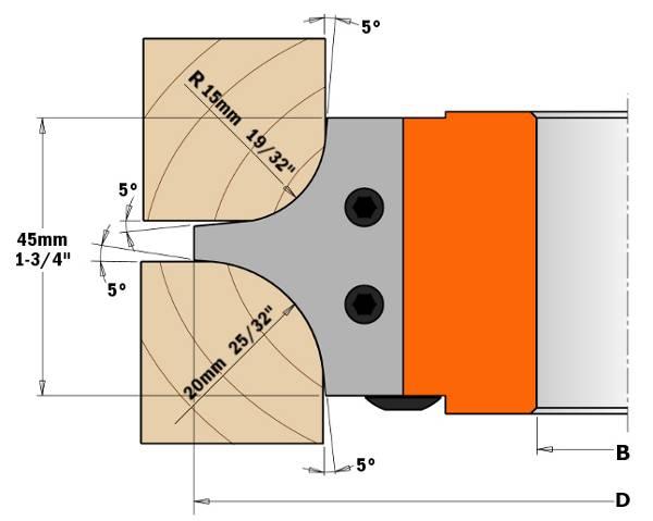 Cabezal portacuchillas que monta tres cuchillas distintas, permitiendo realizar seis perfiles de radio cóncavo.