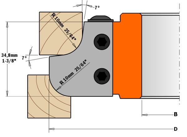 Este cabezal portacuchillas es una herramienta ideal para realizar muebles, puertas y partes frontales de los cajones, proporcionándole un toque final sencillo y elegante. Utilizando el perfil de radio cóncavo, conseguirá acabados ideales para mesas y encimeras
