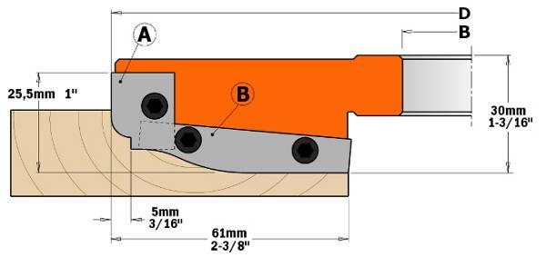 Cabezal con cuchillas integrales de MD para la realización de plafones en cualquier tipo de madera