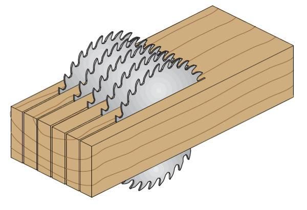 Sierra multiple con limitador de profundidad Sierras de corte con placas de md para sierras multiple con limitador , para cortes a favor de veta donde la placa de acero especial evita vibraciones