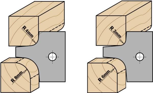 """También disponibles dos juegos de cuchillas de radios 4mm (5/32"""") y 8mm (5/16"""") ó 3mm (1/8"""") y 6mm (15/64""""). A utilizar en máquinas tupí, combinadas y cepilladoras. Resultado excelente en todos los materiales, excelente en madera dura y paneles. Para ejes de 30 y 50 mm"""