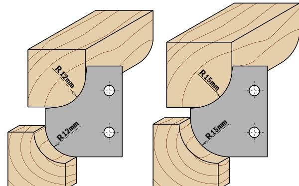 """Permite el montaje de tres cuchillas distintas para la realización de radios cóncavos y convexos de 10mm (25/64""""), 12mm (15/32"""") y 15mm (19/32""""). A utilizar en máquinas tupí, combinadas y cepilladoras. Resultado excelente en todos los materiales, ideal en madera dura y paneles."""