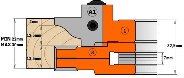 """La herramienta extensible (incluida) puede utilizarse también por separado para realizar ranuras regulables de 8mm (5/16"""") a 15mm (5/8""""). de espesor. A utilizar en máquinas tupí. Muy buen acabado en maderas duras, blandas y paneles con un grosor máximo de 48mm"""