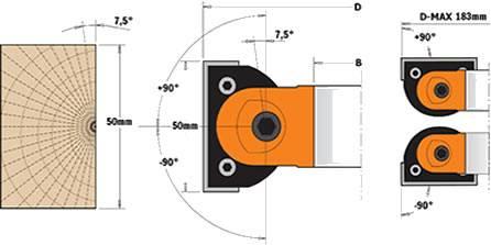 Cabezales para biselar de 0º a 90º con altura de corte de 50 mm