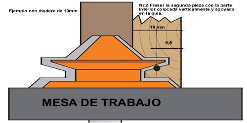 Fresar la segunda pieza con la parte interior colocada verticalmente y apoyada en la guia