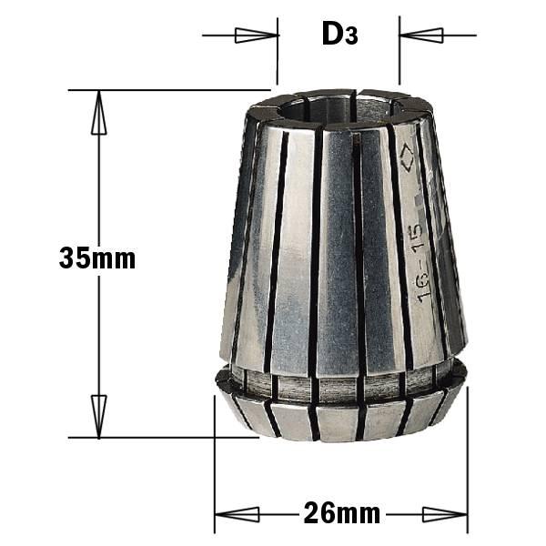 Pinza elastica biconica tipo ER25