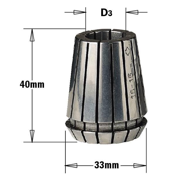 """Pinzas bicónicas intercambiables """"ER32"""" (D3~20mm) - con ranuras axiales intercaladas y contrapuestas para - ajuste cilíndrico de la herramienta."""