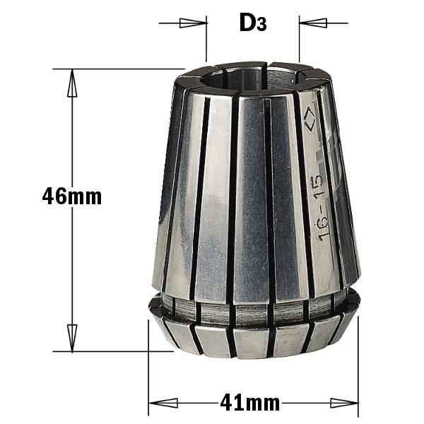 """Pinzas bicónicas intercambiables """"ER40"""" (D4~25mm) - con ranuras axiales intercaladas y contrapuestas para - ajuste cilíndrico de la herramienta."""