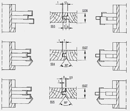 Grupos de cabezales normalizados con cuchillas reversibles en MD para hacer machihembrados