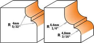 fresa de carburo de tungsteno de perfil clasico,con un pinto vertical al centro de la fresa,para separar las curvas,creando una moldura atractiva