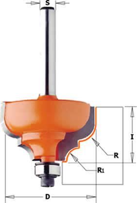 Fresa para perfilar de perfil invertido y doble pinto para fabricar molduras decorativas en electro fresadoras